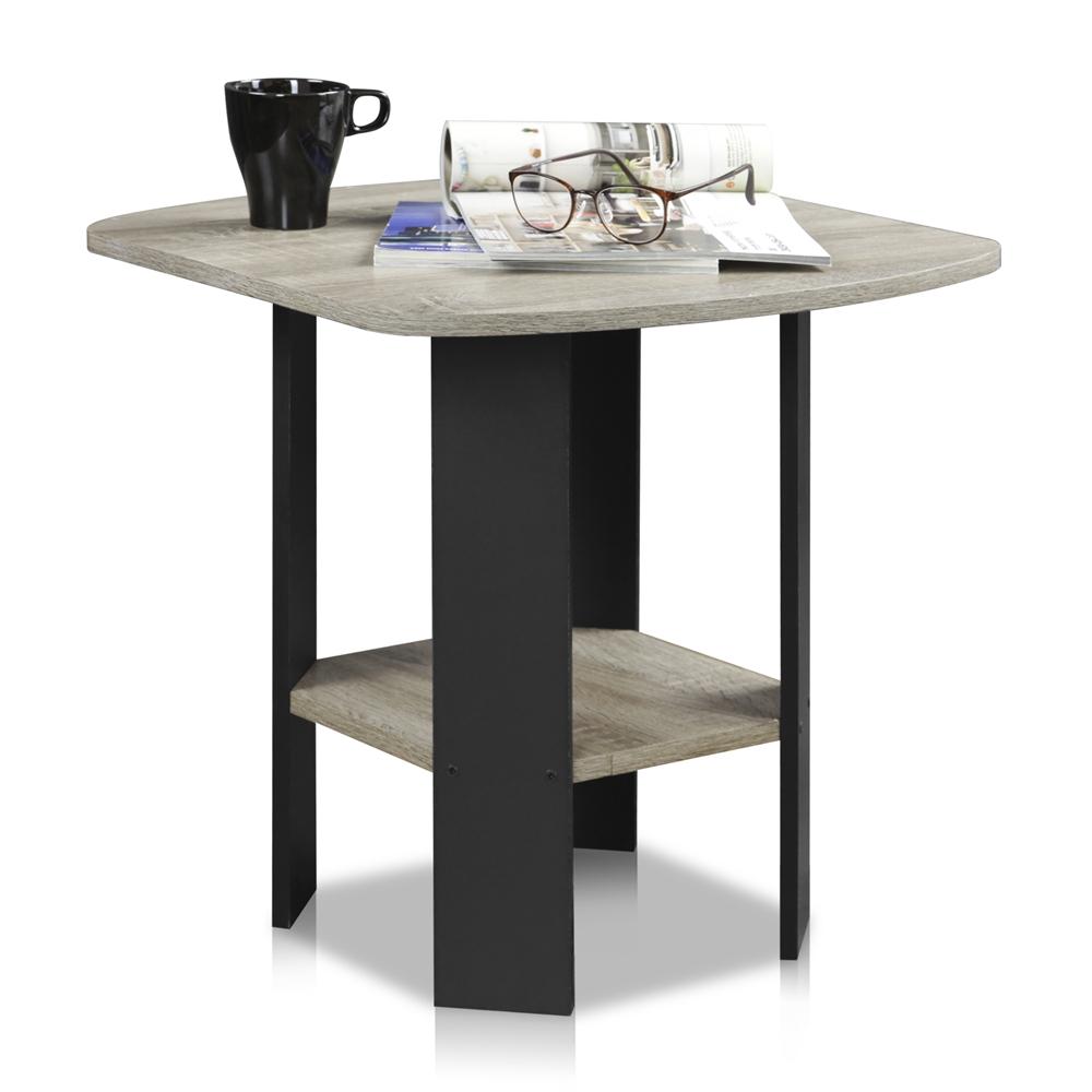 Simple Design End/Side Table, Oak Grey/Black. Picture 4