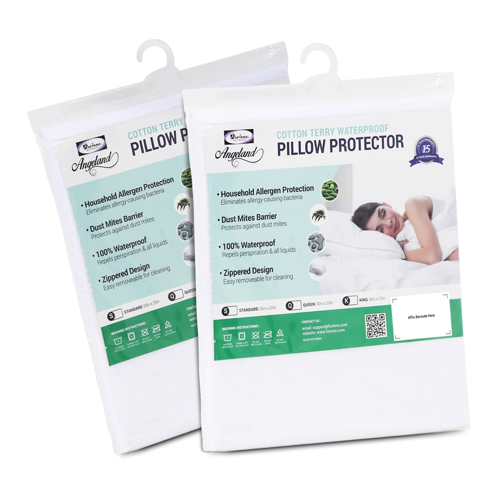 Angeland Terry Cloth Waterproof Pillow Protector, King, Pack of 2. Picture 1