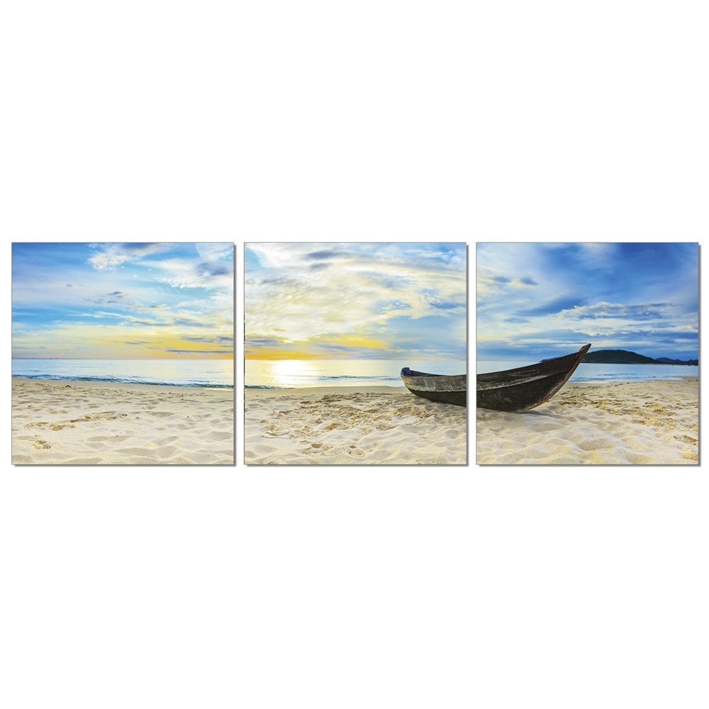 SENIC Fishing at Sunset 3-Panel Canvas on Wood Frame, 60 x 20-in. Picture 1