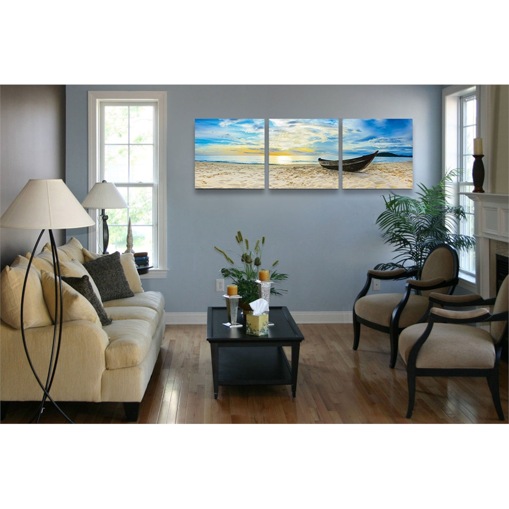 SENIC Fishing at Sunset 3-Panel Canvas on Wood Frame, 60 x 20-in. Picture 3