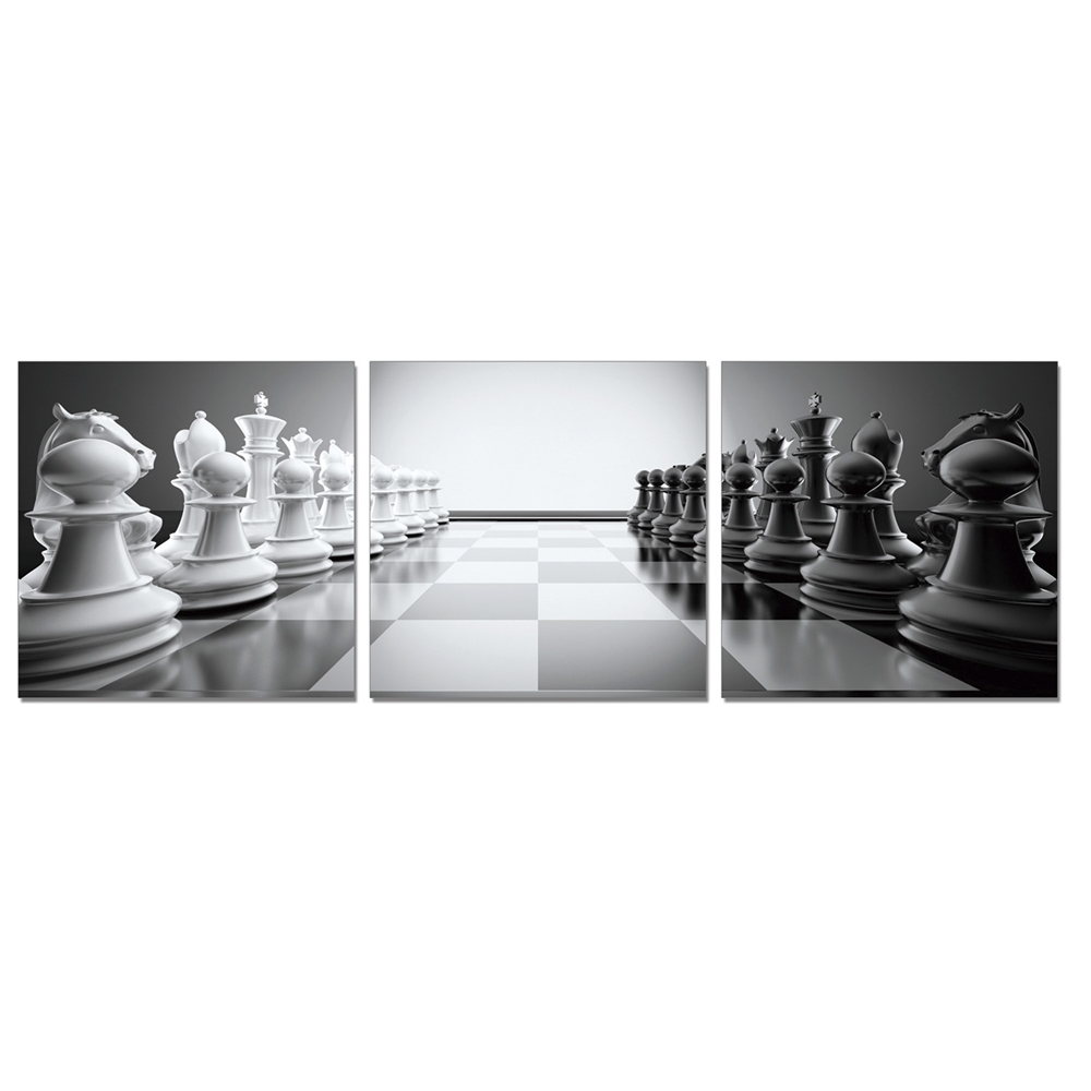 SENIC Chess 3-Panel Canvas on Wood Frame, 60 x 20-in. Picture 1