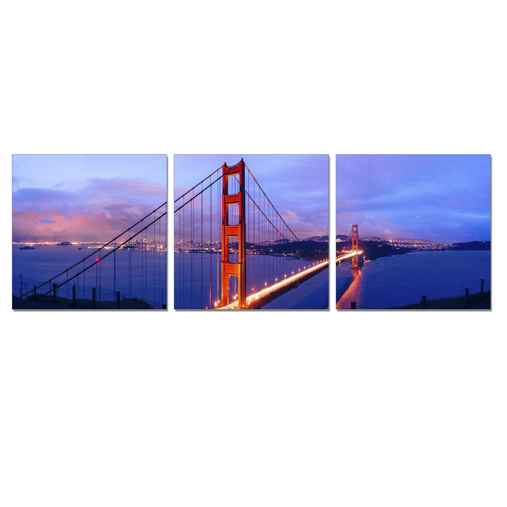 SENIK Golden Gate 3-Panel MDF Framed Photography Triptych Print, 72 x 24-in. Picture 1