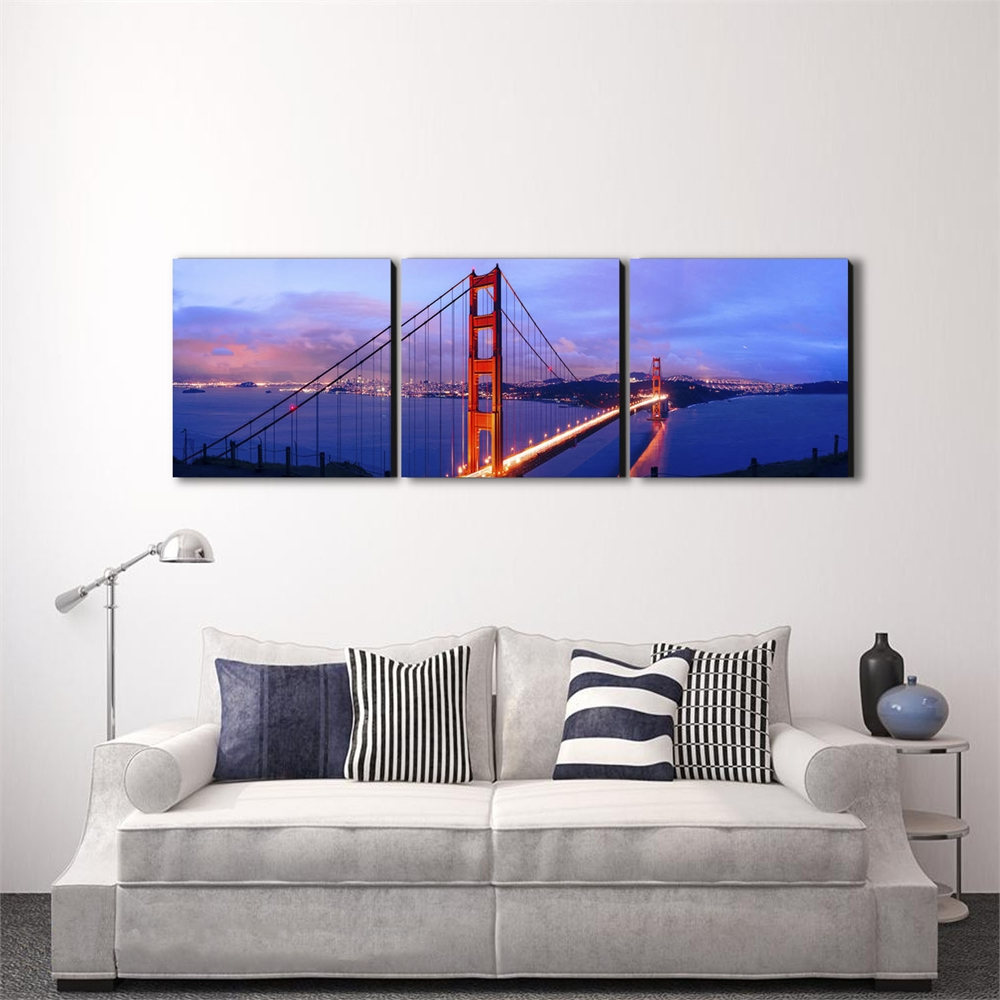 SENIK Golden Gate 3-Panel MDF Framed Photography Triptych Print, 72 x 24-in. Picture 3