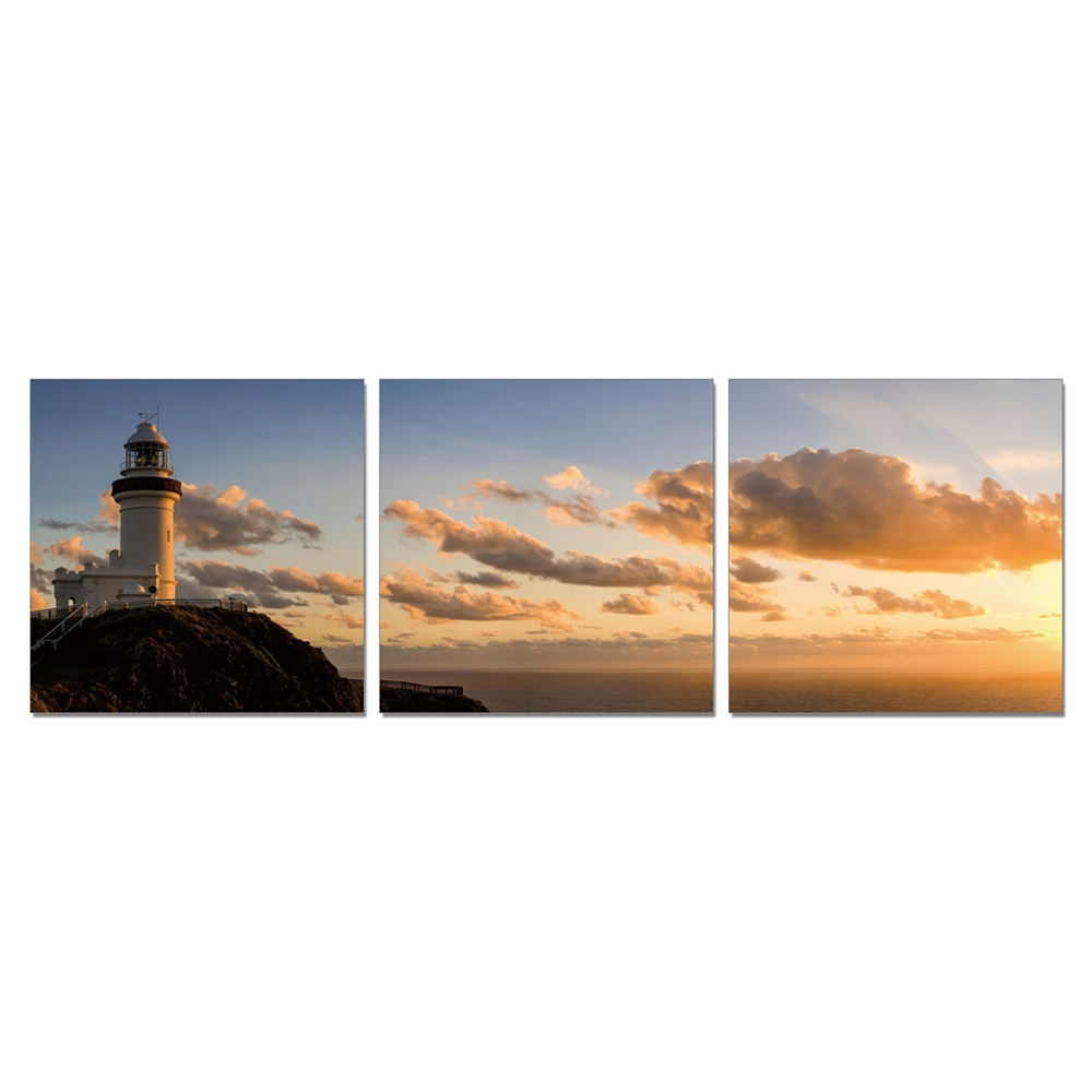 SENIK Light House 3-Panel MDF Framed Photography Triptych Print, 72 x 24-in. Picture 1