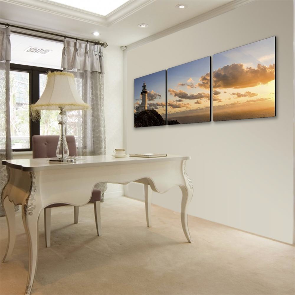 SENIK Light House 3-Panel MDF Framed Photography Triptych Print, 72 x 24-in. Picture 3