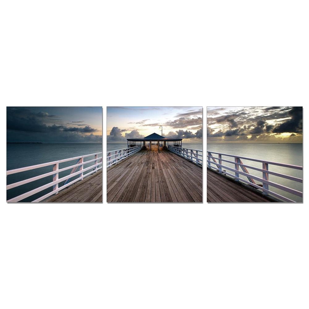 SENIK Brisbane Pier 3-Panel MDF Framed Photography Triptych Print, 72 x 24-in. Picture 1