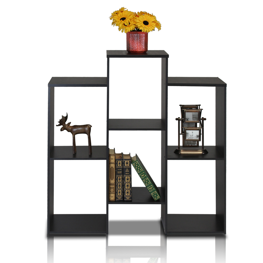 Parsons Staggered Cube Bookcase with 6-Shelves, Black. Picture 1