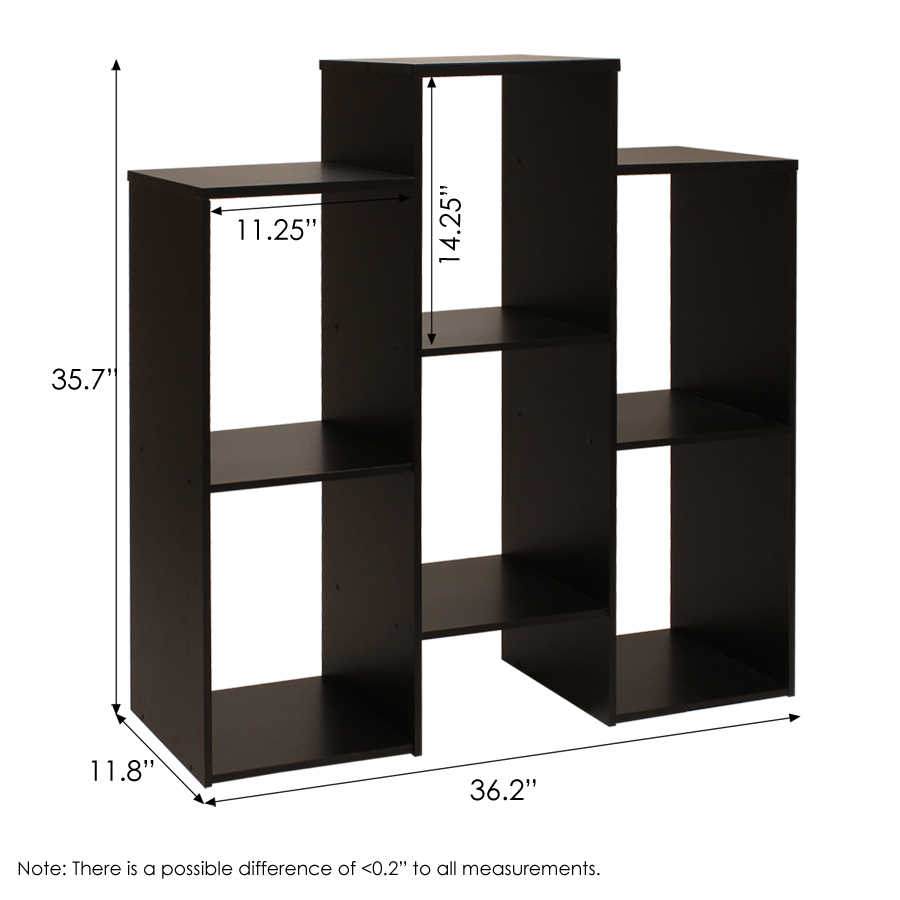 Parsons Staggered Cube Bookcase with 6-Shelves, Black. Picture 2