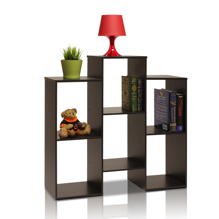 Parsons Staggered Cube Bookcase with 6-Shelves, Black. Picture 3