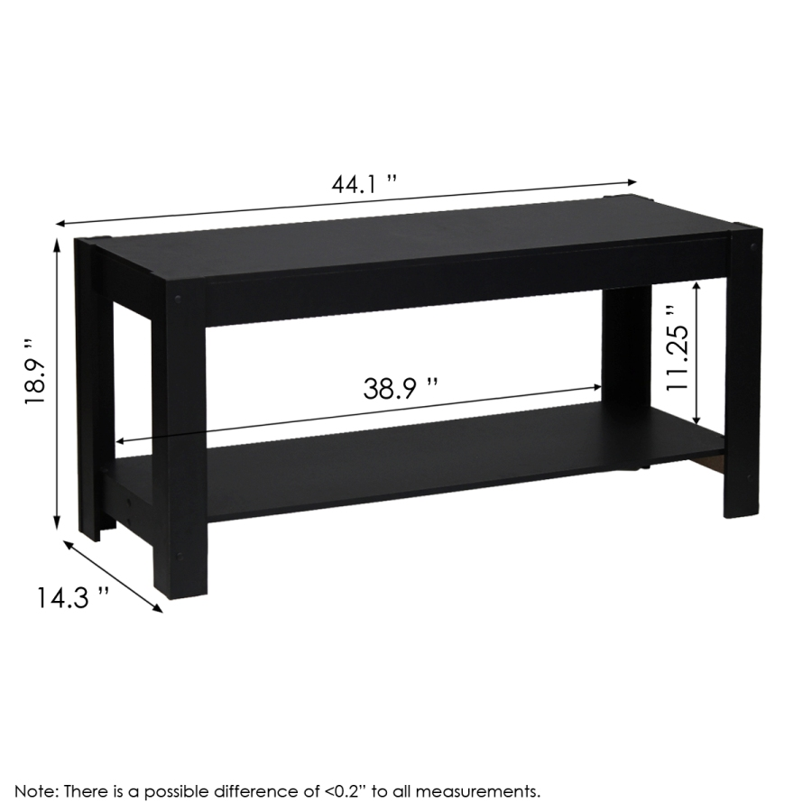 Parsons Entertainment Center TV Stand/Coffee Table, Black. Picture 2