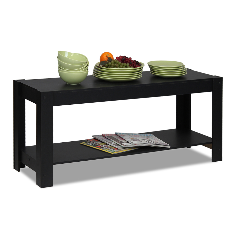 Parsons Entertainment Center TV Stand/Coffee Table, Black. Picture 3