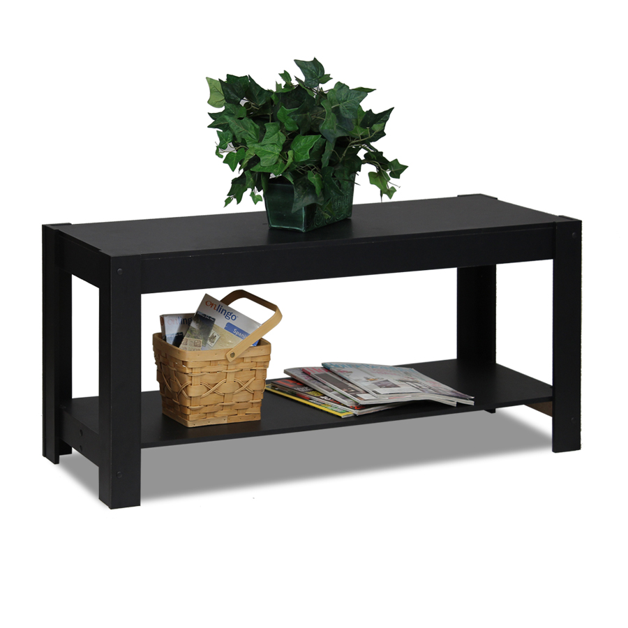 Parsons Entertainment Center TV Stand/Coffee Table, Black. Picture 4