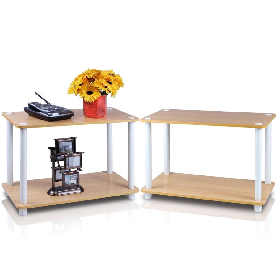 Turn-N-Tube 2-Tier Shelves/End Tables Set, Beech/White, 2 Pcs Set. Picture 1