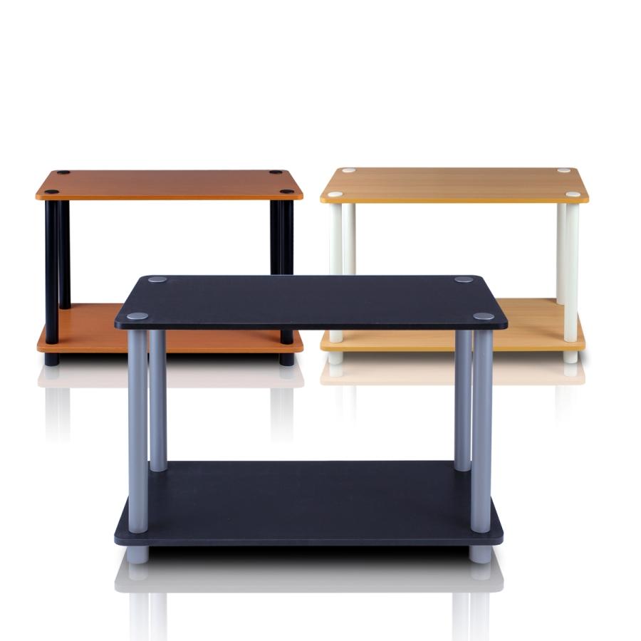 Turn-N-Tube 2-Tier Shelves/End Tables Set, Beech/White, 2 Pcs Set. Picture 3