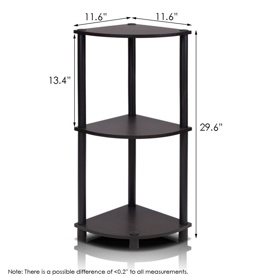 Turn-N-Tube 3-Tier Corner Display Rack Multipurpose Shelving Unit, Espresso/Black. Picture 2