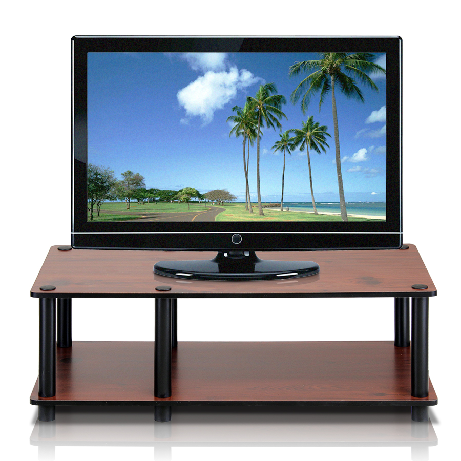 Just No Tools Mid TV Stand, Dark Cherry w/Black Tube. Picture 1