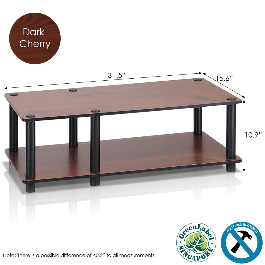 Just No Tools Mid TV Stand, Dark Cherry w/Black Tube. Picture 2