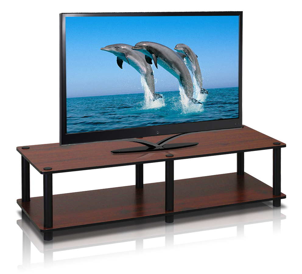 Just No Tools Wide TV Stand, Dark Cherry w/Black Tube. Picture 1
