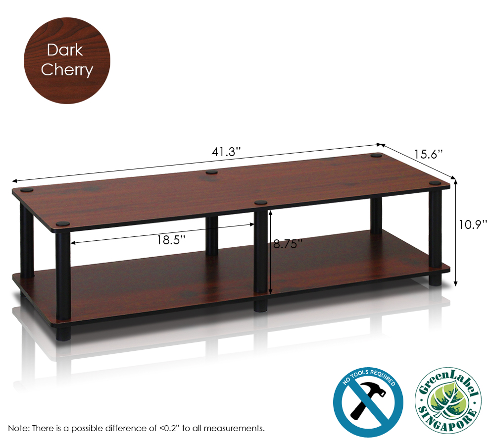 Just No Tools Wide TV Stand, Dark Cherry w/Black Tube. Picture 4
