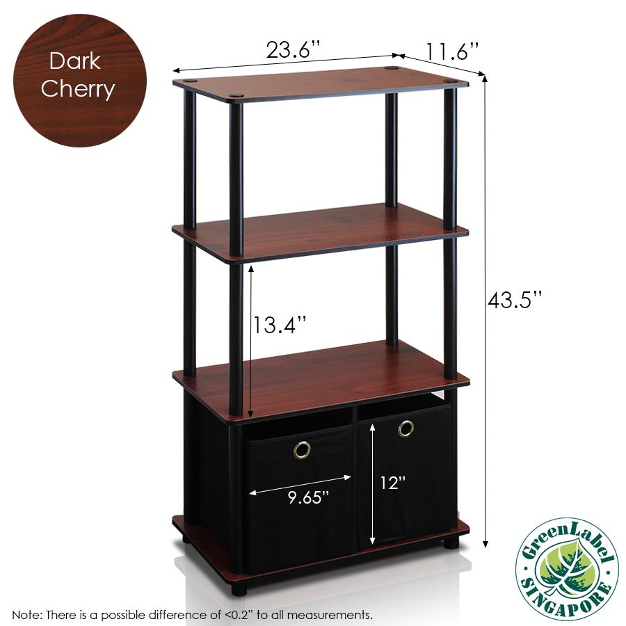 Go Green 4-Tier Multipurpose Storage Rack Shelving Unit w/Bins, Dark Cherry/Black. Picture 2