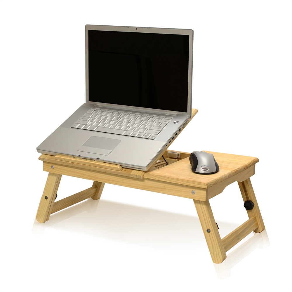 Pine Solid Wood AdJustable Ventilated Notebook Lapdesk, Natural. Picture 2