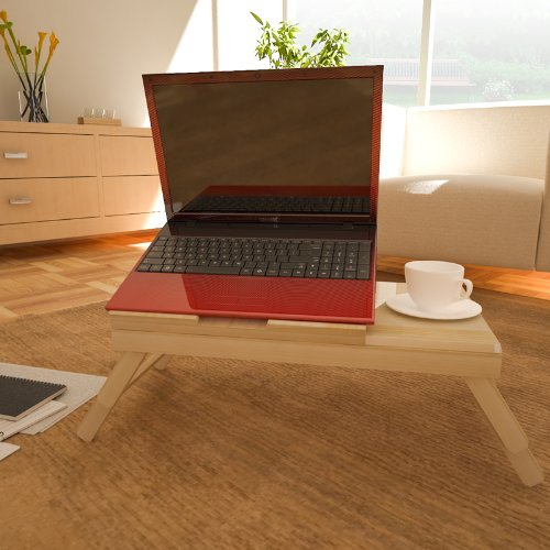 Pine Solid Wood AdJustable Ventilated Notebook Lapdesk, Natural. Picture 7