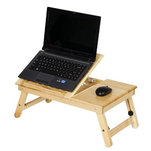 Pine Solid Wood AdJustable Ventilated Notebook Lapdesk, Natural. Picture 8