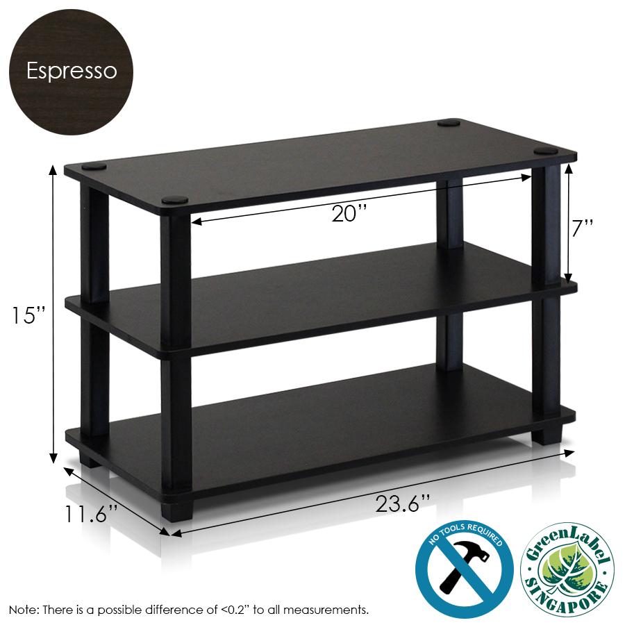 Turn-S-Tube 3-Tier Shoe Rack, Espresso/Black. Picture 2