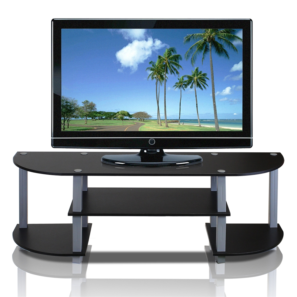 Turn-S-Tube Wide TV Entertainment Center, Black/Grey. Picture 1