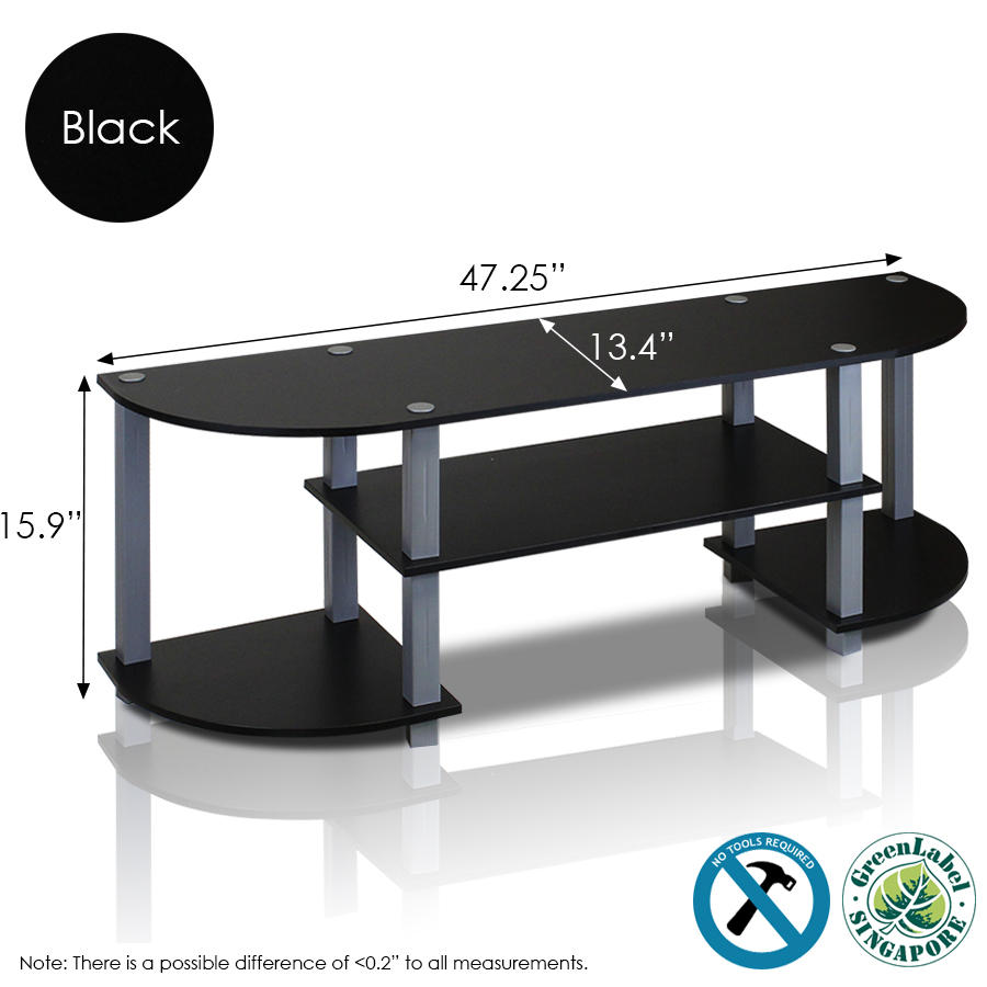 Turn-S-Tube Wide TV Entertainment Center, Black/Grey. Picture 2