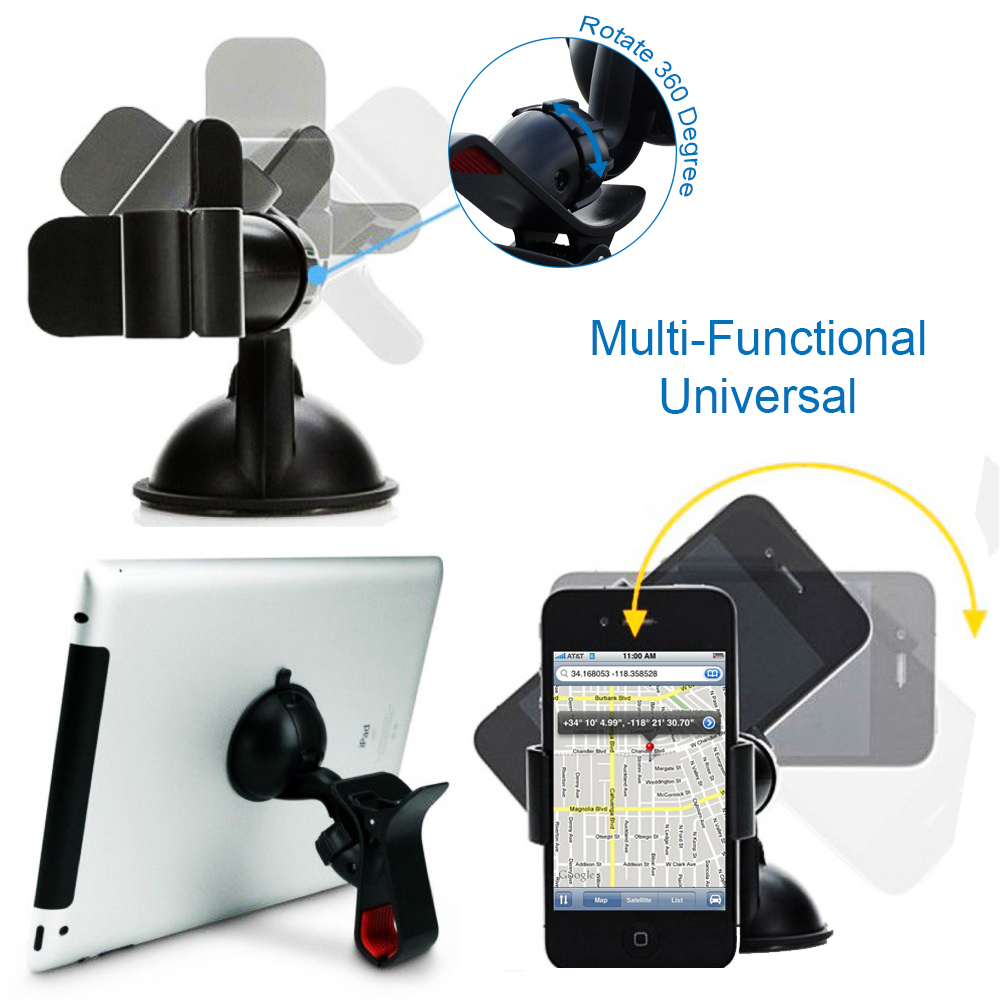 Easy Mount Suction Universal Car Phone Mount Holder, Black. Picture 2