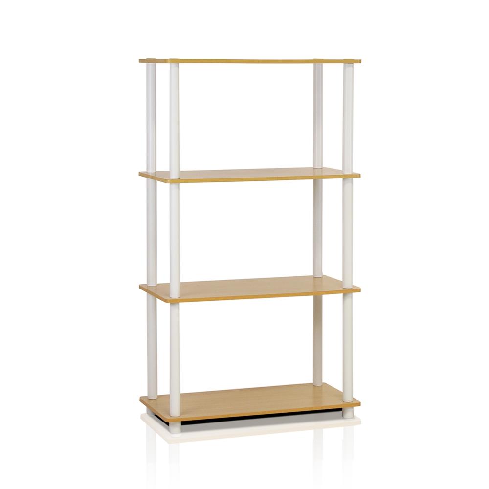 Turn-N-Tube 4-Tier Multipurpose Shelf Display Rack, Beech/White,. Picture 1