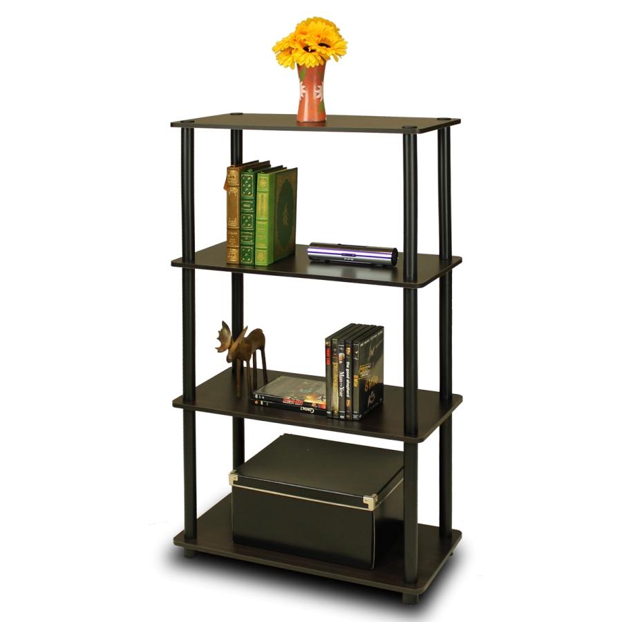 Turn-N-Tube 4-Tier Multipurpose Shelf Display Rack, Espresso/Black. Picture 1