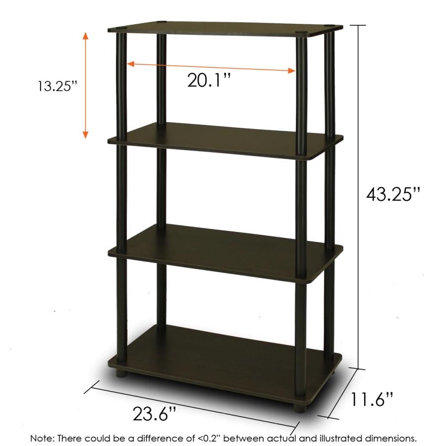 Turn-N-Tube 4-Tier Multipurpose Shelf Display Rack, Espresso/Black. Picture 2