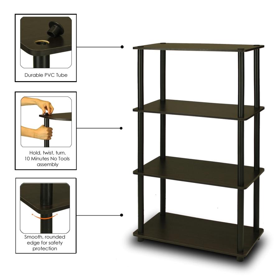 Turn-N-Tube 4-Tier Multipurpose Shelf Display Rack, Espresso/Black. Picture 3