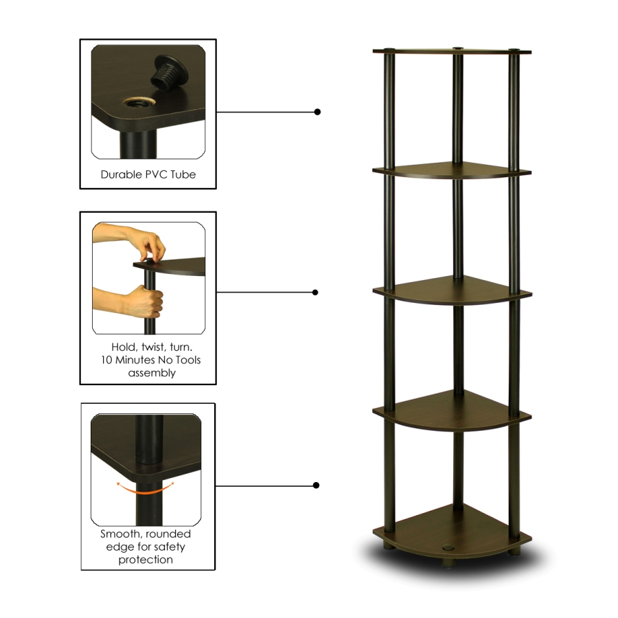Turn-N-Tube 5 Tier Corner Display Rack Multipurpose Shelving Unit, Espresso/Black. Picture 3