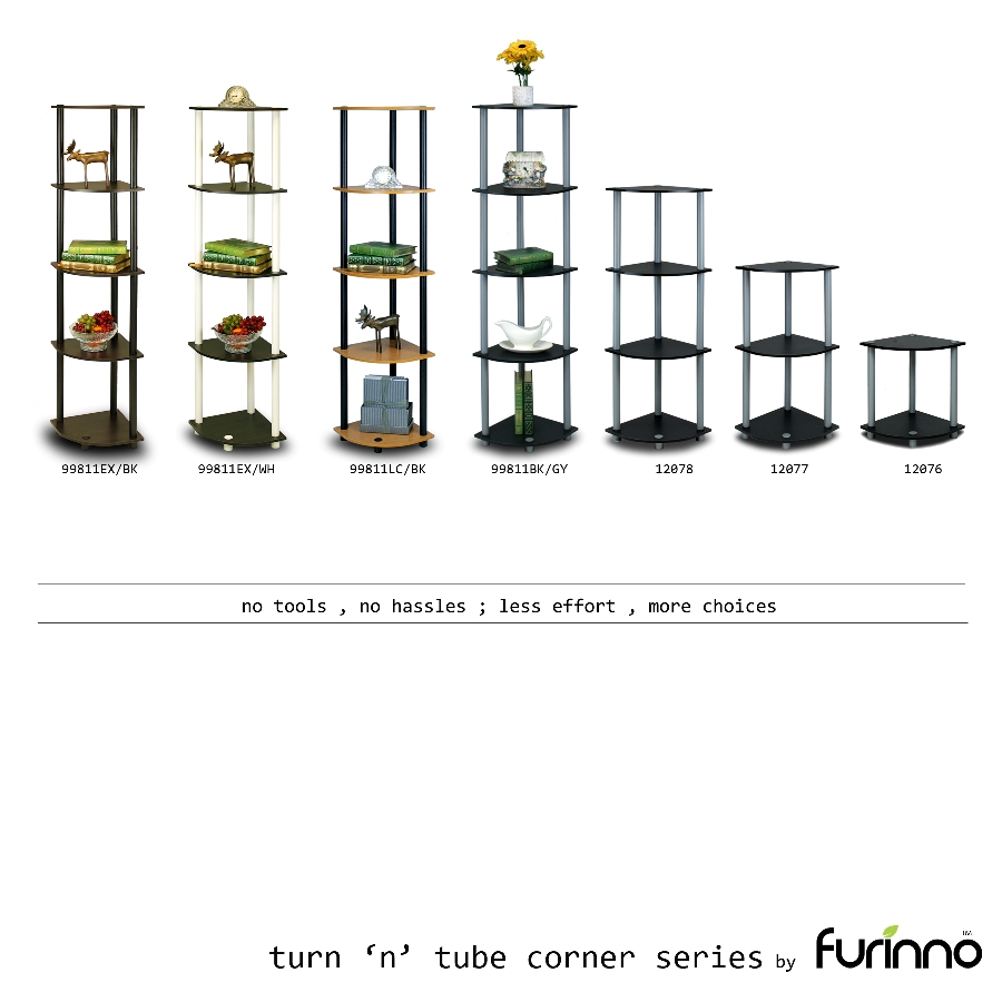 Turn-N-Tube 5 Tier Corner Display Rack Multipurpose Shelving Unit, Espresso/Black. Picture 5