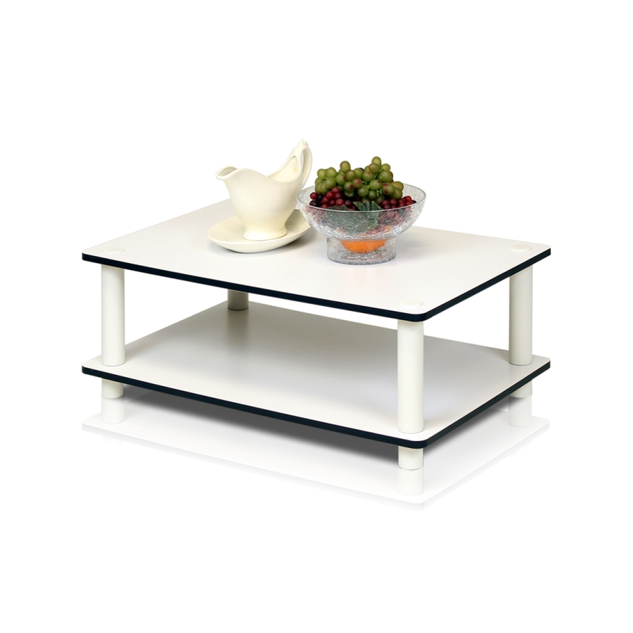 11172 Just 2-Tier No Tools Coffee Table, White w/White Tube. Picture 1