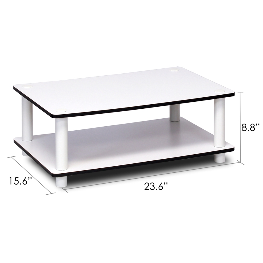 11172 Just 2-Tier No Tools Coffee Table, White w/White Tube. Picture 2