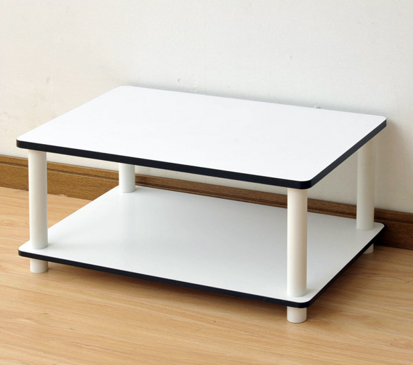 11172 Just 2-Tier No Tools Coffee Table, White w/White Tube. Picture 5