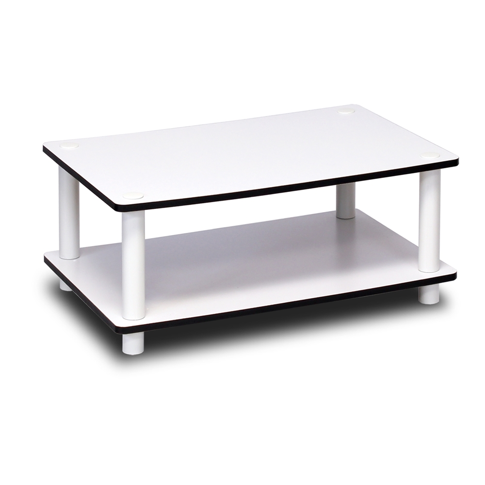 11172 Just 2-Tier No Tools Coffee Table, White w/White Tube. Picture 6