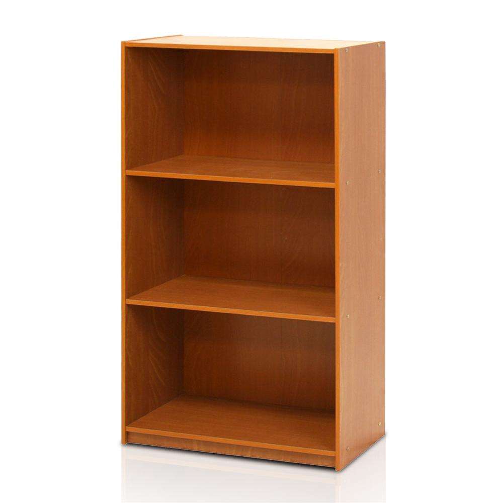 Basic 3 Tier Bookcase Storage Shelves Light Cherry