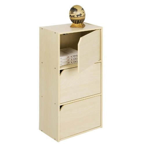 Pasir 3 Tier Bookcase with Door w/out Handle, Steam Beech. Picture 1