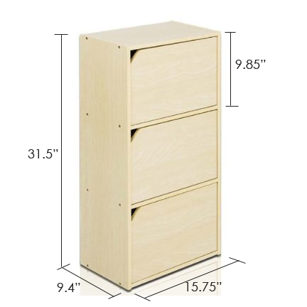 Pasir 3 Tier Bookcase with Door w/out Handle, Steam Beech. Picture 2