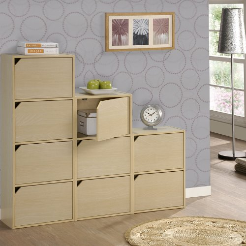 Pasir 3 Tier Bookcase with Door w/out Handle, Steam Beech. Picture 4