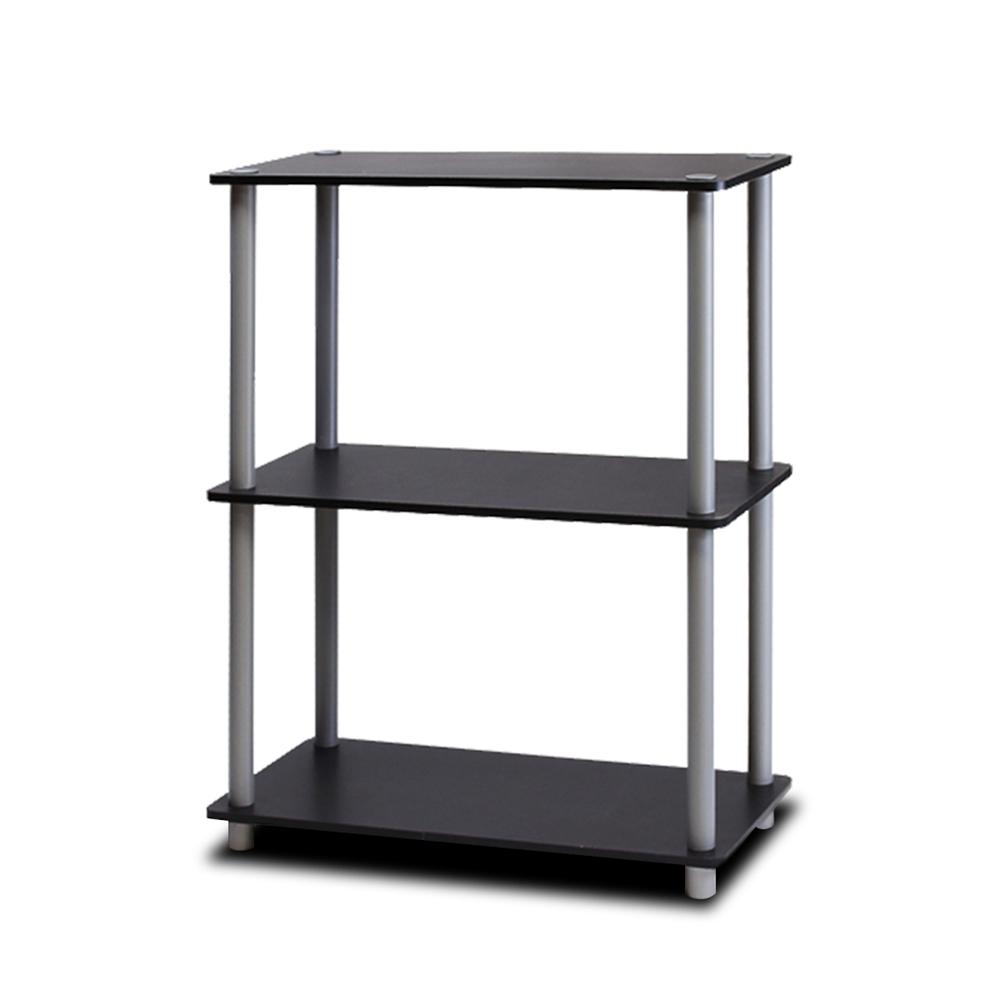 Turn-N-Tube 3-Tier Compact Multipurpose Shelf Display Rack, Black/Grey. Picture 1