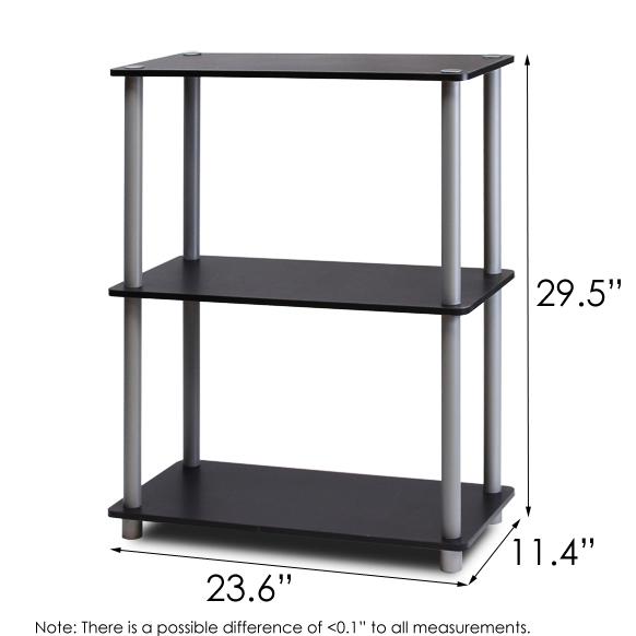 Turn-N-Tube 3-Tier Compact Multipurpose Shelf Display Rack, Black/Grey. Picture 2