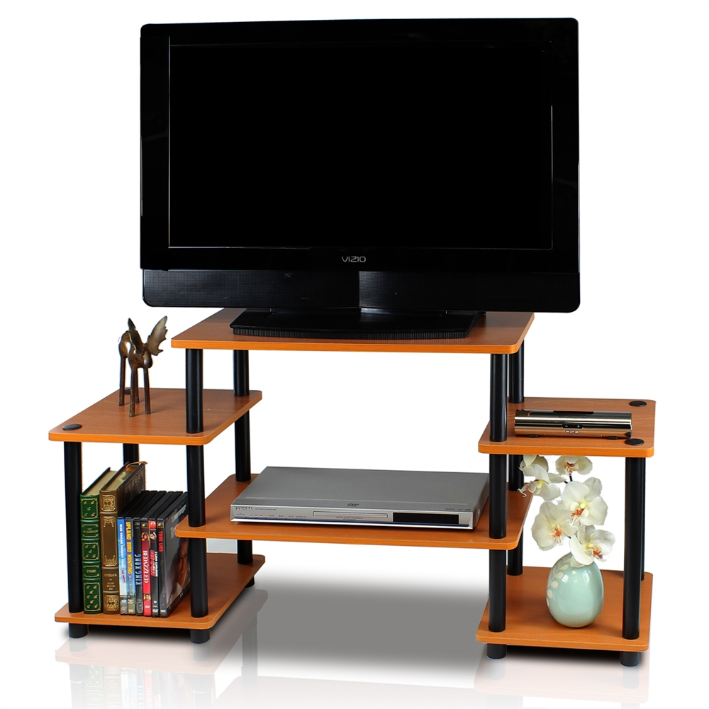 Turn-N-Tube No Tools Entertainment Center, Light Cherry/Black. Picture 3