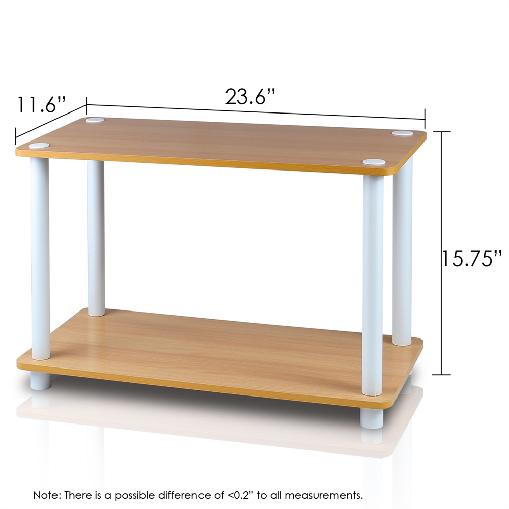 Turn-N-Tube 2-Tier No Tools Tube Shelf/End Table, Beech/White. Picture 2