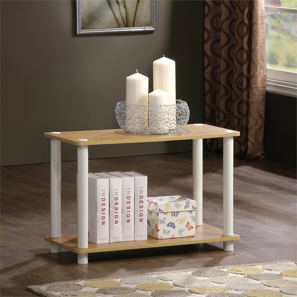 Turn-N-Tube 2-Tier No Tools Tube Shelf/End Table, Beech/White. Picture 3